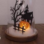 DIY: Glasglocke mit Halloween-Mini-Kürbis-Spukhaus