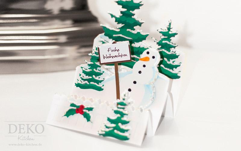 DIY 3D Weihnachtskarte Schneemann Deko-Kitchen