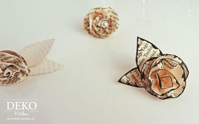 DIY: Rosenblüten aus Buchseiten Deko Kitchen