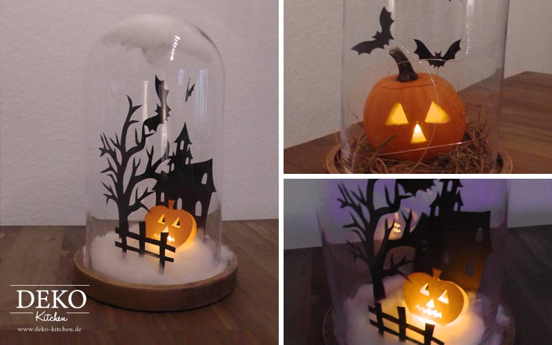 diy glasglocke mit halloween mini k rbis spukhaus deko kitchen. Black Bedroom Furniture Sets. Home Design Ideas