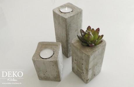 DIY stylische Kerzenleuchter aus Beton Deko-Kitchen