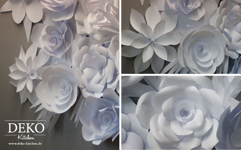 Diy romantische papierbl ten wand deko selber machen for Deko kitchen papierblumen
