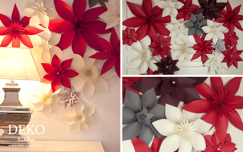 Diy wanddeko mit christsternen aus papier deko kitchen for Deko kitchen papierblumen