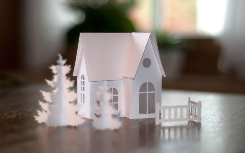 diy kleine winterlandschaft aus papier deko kitchen. Black Bedroom Furniture Sets. Home Design Ideas