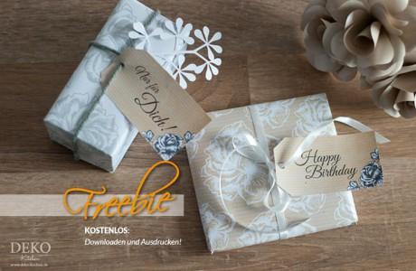 Freebie: Anhänger und Geschenkpapier mit Rosenmuster von Deko-Kitchen
