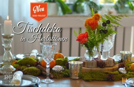 Dekoidee: farbenprächtige Tischdeko in Herbsttönen