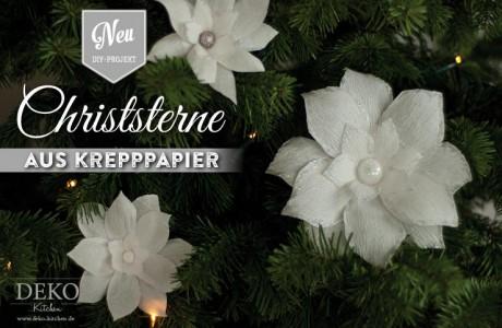 Weihnachtsdeko basteln: hübsche Christsterne aus Krepp-Papier