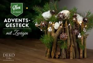 weihnachtsdeko basteln ausgefallenes adventsgesteck mit. Black Bedroom Furniture Sets. Home Design Ideas