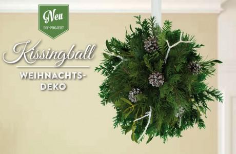 Weihnachtsdeko basteln: romantischer Kissingball mit Zweigen und Misteln