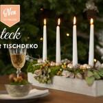 Weihnachtsdeko basteln: Tischdeko mit weihnachtlichem Gesteck