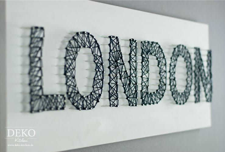DIY 3D-Schriftzug mit Nägeln und Wolle Deko-Kitchen