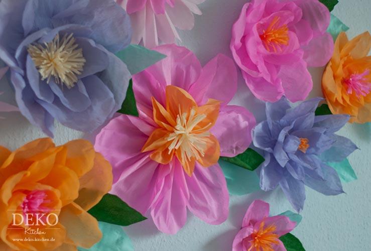 DIY: tolle Wanddeko mit Krepppapierblüten Deko-Kitchen
