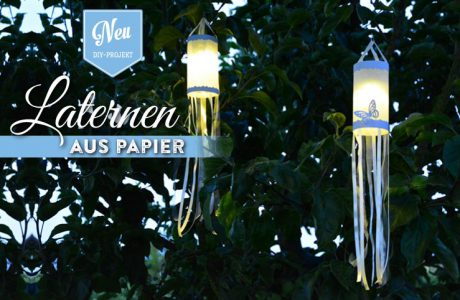 DIY: hübsche Papierlaternen mit Stoffbändern