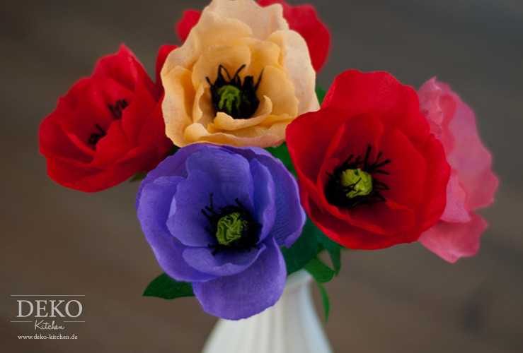 DIY: tolle Herbstblumen (Anemonen/Mohnblumen) aus Krepppapier Deko-Kitchen