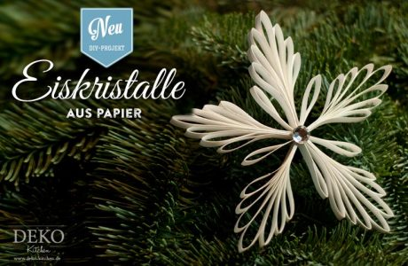 DIY: edle Weihnachtsdeko mit Eiskristall-Anhängern aus Papier