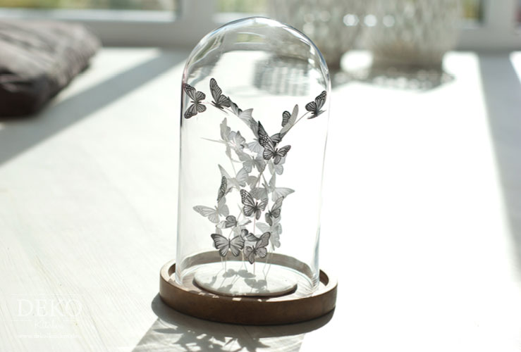 DIY: süßer Schmetterlingsschwarm unter Glas Deko-Kitchen
