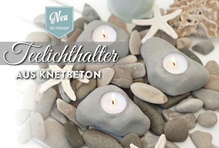 DIY: coole Teelichthalter in Stein-Optik aus Knetbeton