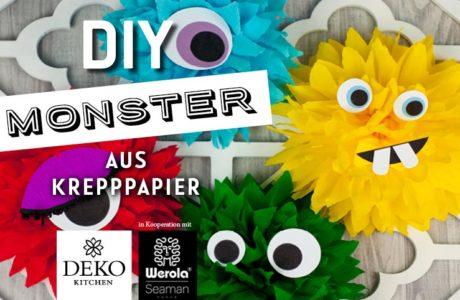 DIY: lustige Monster aus Krepppapier