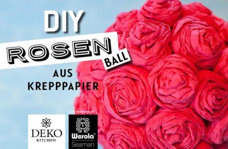 DIY: romantischer Rosenball aus Krepppapier