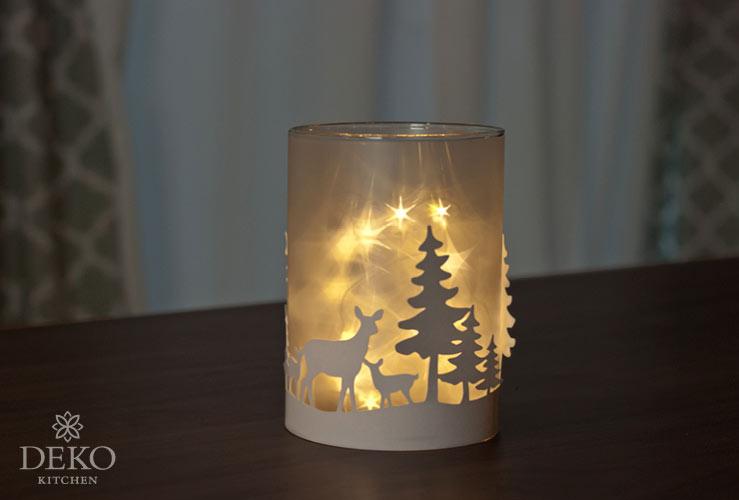 DIY: weihnachtliches Windlicht mit funkelnden Sternen