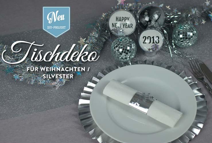 DIY: edle Silvester-Tischeko mit Platztellern und Deko-Kugeln zum Selbermachen