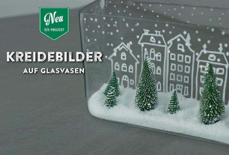 DIY: weihnachtliche Kreidebilder auf Glasvasen