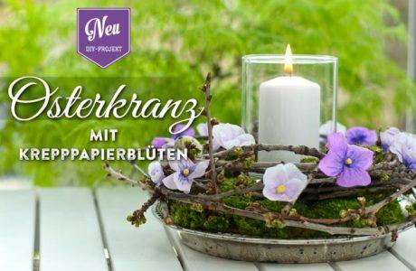 DIY: Osterkranz mit Stiefmütterchen aus Krepppapier Deko-Kitchen