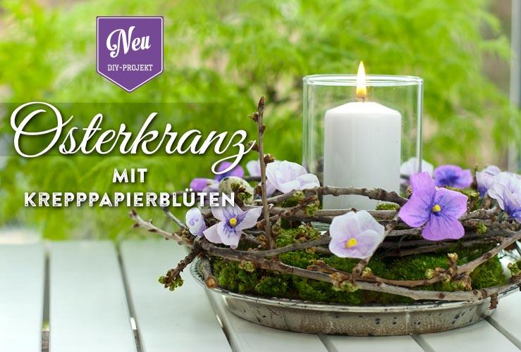 DIY: Osterkranz mit Stiefmütterchen aus Krepppapier