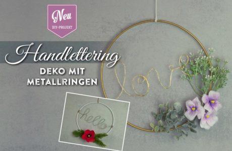 Handlettering-Deko mit Metallringen und Zweigen Deko-Kitchen