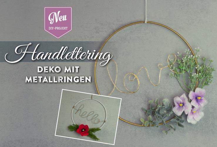 DIY: Handlettering-Deko mit Metallringen und Zweigen