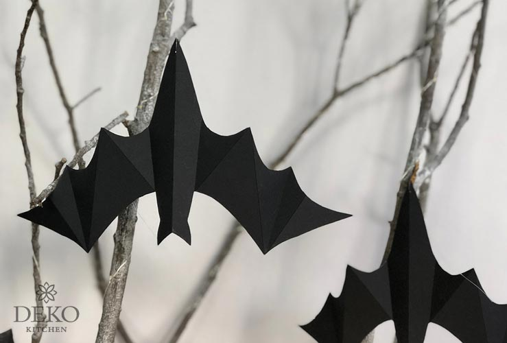 DIY: coole Halloweendeko mit Spukhaus und Fledermäusen aus Papier Dko-Kitchen