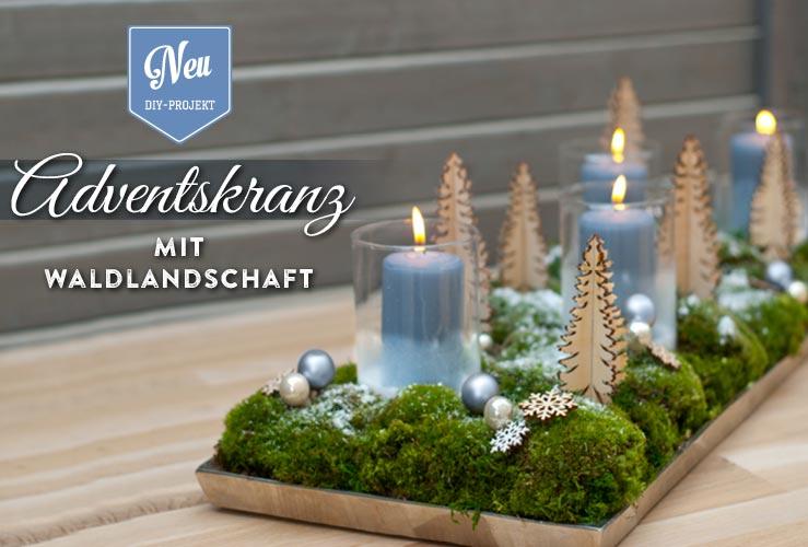 DIY: süßer Adventskranz mit kleiner Waldlandschaft