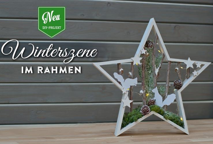 DIY: hübsche Weihnachtsdeko mit Winterszenen in Sternrahmen