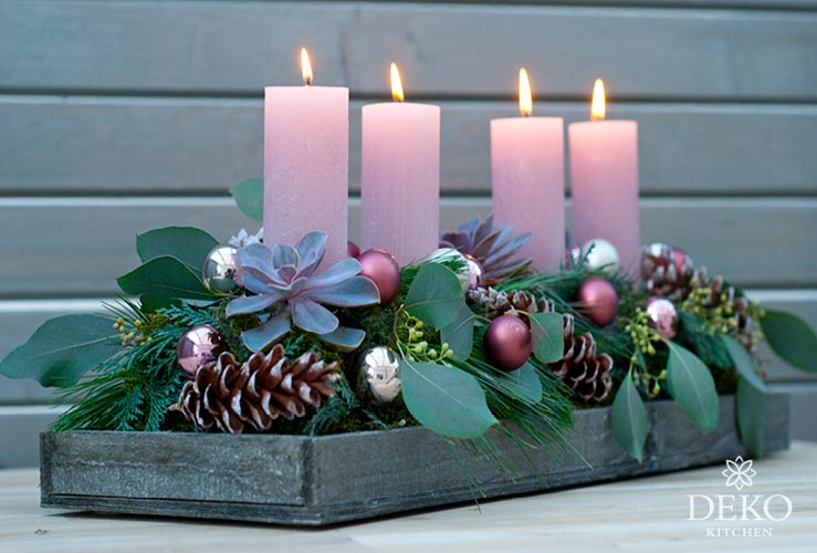 DIY: edler Adventskranz mit Eukalyptus in Rosétönen Deko-Kitchen