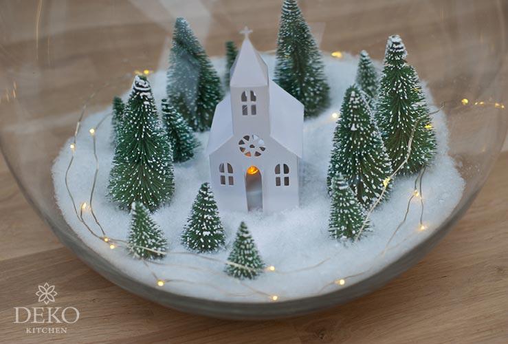 DIY: weihnachtliche Windlichter mit Schneelandschaft Deko-Kitchen