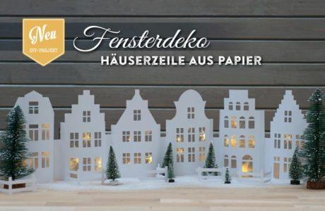 DIY: weihnachtliche Fensterdeko mit Häuserzeile aus Papier Deko-Kitchen