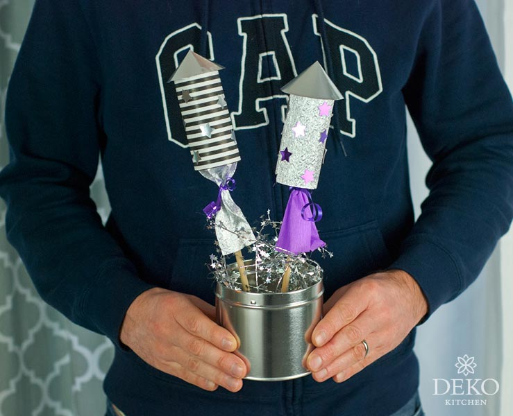DIY: lustige Silvesterdeko mit Raketen aus Papprollen