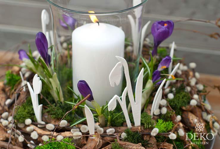 DIY: süßer Osterkranz mit Blumen-Silhouetten aus Modelliermasse