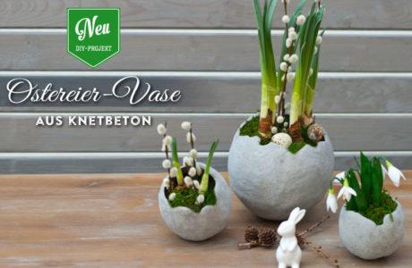 DIY: stylische Ostereier-Vase aus Knetbeton