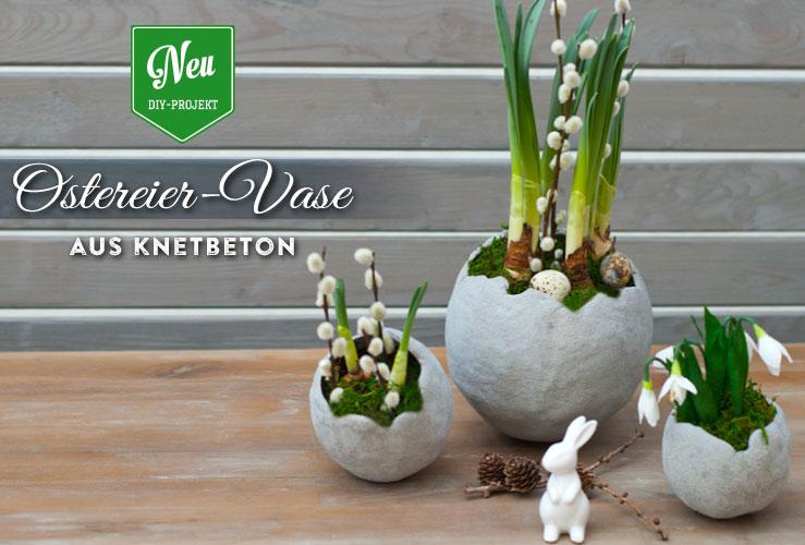 DIY: stylische Ostereier-Vasen aus Knetbeton
