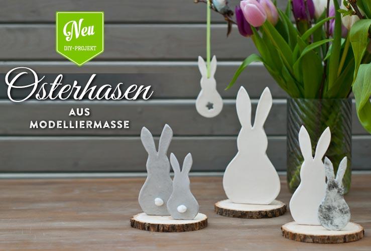 DIY: süße Osterhasen-Deko aus Modelliermasse