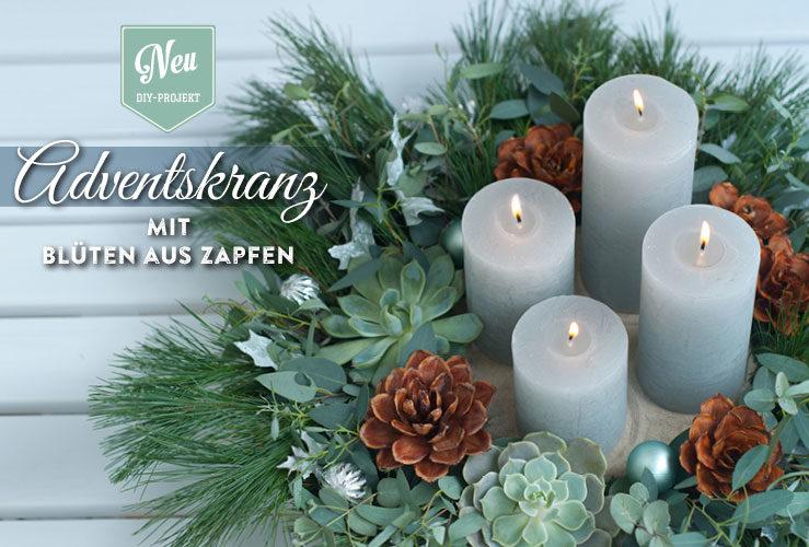 DIY: Adventskranz mit wunderschönen Blüten aus Zapfen