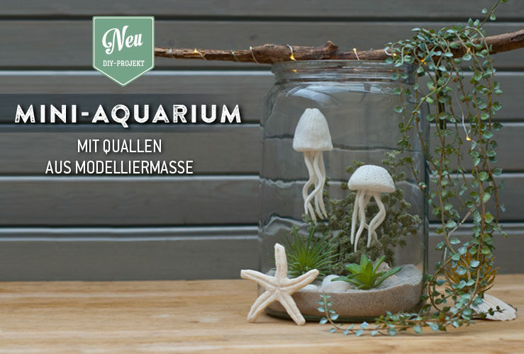 DIY: süßes Mini-Aquarium mit Quallen aus Modelliermasse